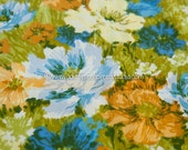 Mod Wildflowers - Vintage Fabric Abstract Watercolor Floral 60s 70s New Old Stock Brushstrokes Barkcloth