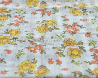 Mod Daisies and More - Vintage Fabric  60s 70s New Old Stock Juvenile Floral Textured Dimity Cutwork