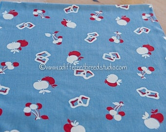 Apples and Cherries - Vintage Fabric 35 in wide 60s Novelty Whimsical