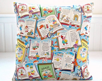 nursery rhymes decorative pillow cover, Humpty Dumpty, Jack and Jill, Pinocchio,  Alice in Wonderland 16 inch cushion cover
