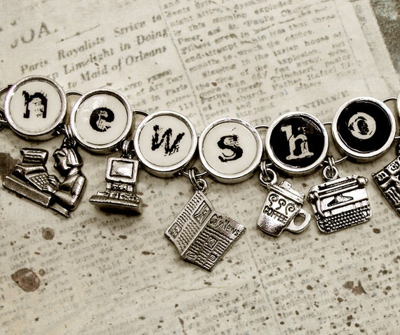 Newshound Charm Bracelet Journalist Reporter Editor Newspaper News Jewelry