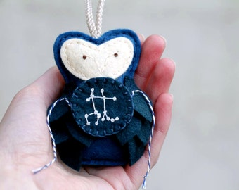 GEMINI Ornament, Felt Owl Star Gazer Gift, Embroidered Ornament Handmade by OrdinaryMommy on Etsy