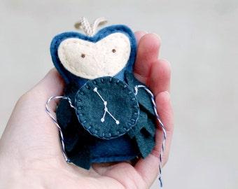 Zodiac Ornament CANCER. Felt Owl Ornament. Embroidered Constellation Star Gazer Gift. Christmas Ornament Handmade by OrdinaryMommy