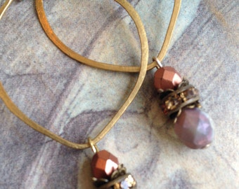 Hammered Brass Hoops with Jewels