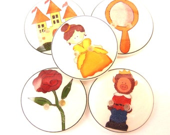"""5 Beauty and the Beast Buttons. Children's Fairy Tale Handmade Buttons. Sew on.  3/4"""" or 20 mm."""