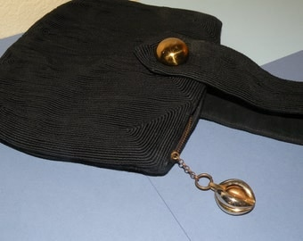 1940s Black Cord Purse with Fab Accents