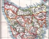 Antique Map, Antique Paper Map of Tasmania, Antique 1906 Original Encyclopedia Page, Vintage Historical Map, Original Detailed Antique Map