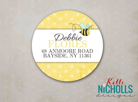 Custom Bumble Bee Circle Return Address Labels, Polka Dots, Mommy to Bee Custom Stickers #S104