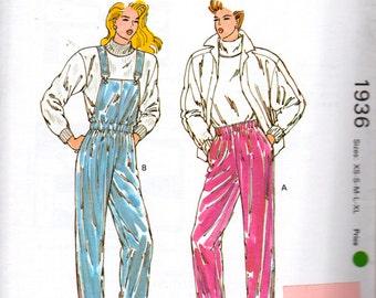 Kwik Sew 1936 1980s Misses Rain Pants Ski Pants Pattern Bib Overalls  Womens Vintage Sewing Pattern Size xs s m l xl  Waist 22 - 37 UNCUT