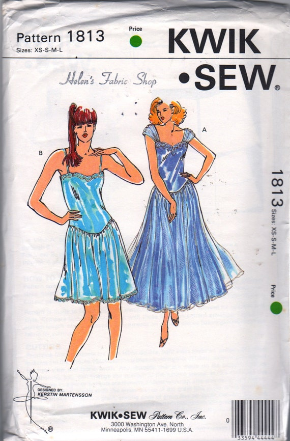 Kwik Sew 1813 1980s Misses Lace NIGHTGOWN Pattern Drop Waist Overlay Skirt Womens Vintage Sewing Pattern Size xs s m l Bust 31 - 41 UNCUT