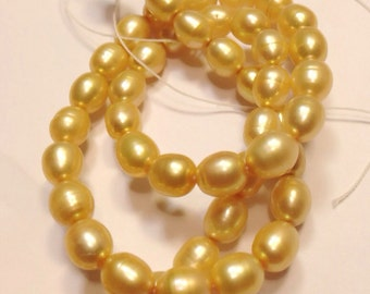 Rice Pearl Oval Pearl Freshwater Pearl Yellow Champagne 6-7mm X 7-9mm----15 inches full strand 45pc #DR3018