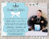 Breakfast at Tiffany's Birthday Invitation - girly - Breakfast at Tiffany's  - banners  - turquoise  black  white - printed or printable