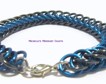 Black and Aqua Half Persian 4 in 1 Chainmaille Bracelet
