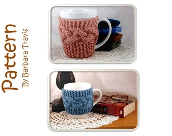 Knitting Pattern Cabled Mug Cozy and Coaster Cozy