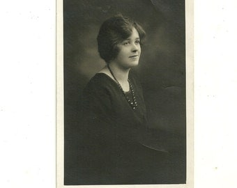 Antique Girl RPPC Real Photo Postcard Young Lass Deep In Thought Vintage Photograph Post Card