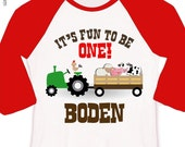 First birthday shirt tractor and farm animals 1st (or any) birthday personalized raglan shirt