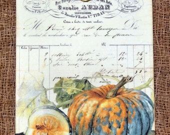 French Pumpking Squash Fall Harvest Gift or Scrapbook Tags or Magnet #121