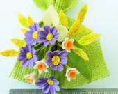 Miniature Polymer Clay Flowers Cosmos and Narcissus Bouquet for Dollhouse 1 piece