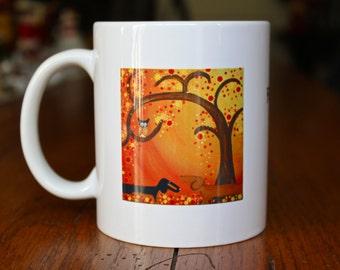 Dachshund Art  Ceramic Mug Fall~ling in Love