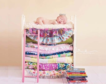 Newborn Photography Prop Loft Bed with Ladder Princess and the Pea Photo Prop Small - Expecting Mom New Mother Baby Shower Gift Baby Picture