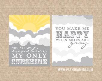 You are My Sunshine wall art, Sunshine Nursery Sign / Kids Room Art Prints // Style: Sunshine and Clouds // N-G25-2PS AA1