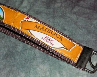 Wristlet KeyChain from Repurposed Pyramid Maibock Beer Labels