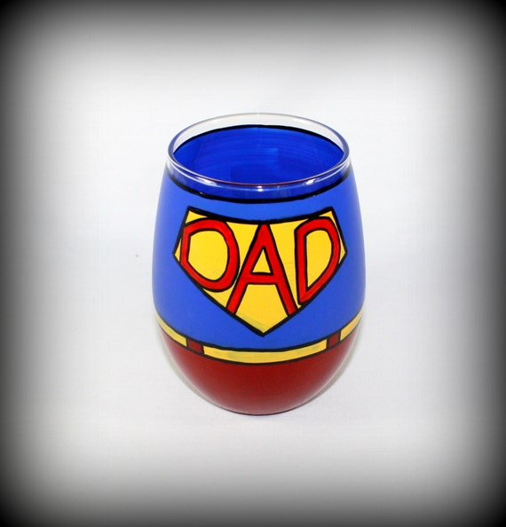 Super DAD Father's Day Hand Painted Glass / Personalization