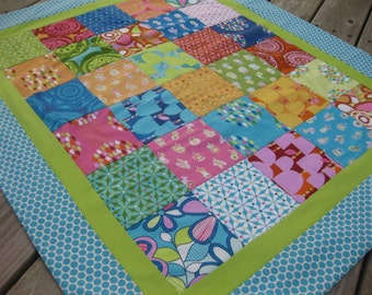ON SALE: Modern baby quilt lap blanket hostess gift in orange aqua lime unisex twin baby gifts Summersault fabrics