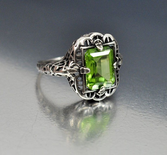 Vintage Sterling Silver Filigree Peridot Ring Size 4 By