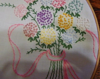 """Vintage 1940's Embroidery in Wooden Hoop, Handmade, 10"""" Hoop, Pink, Lavender, Yellow"""