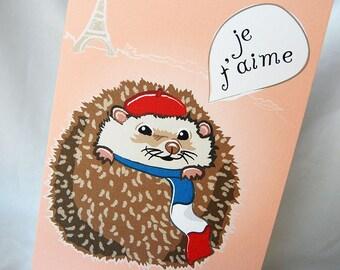 Paris Hedgehog Greeting Card