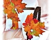 Fall Leaves Wedding Ring Pillow and Basket - Wedding  Ring Cushion Flower Girl Basket - Chocolate Brown Burnt Orange or Custom Color