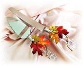 Fall leaves wedding cake cutting knife set, Fall leaves weddings cake set, Maple leaves wedding accessories