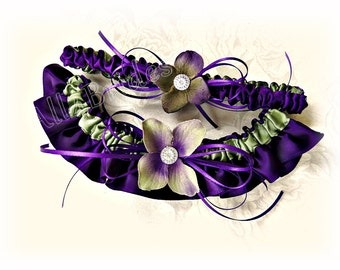 Weddings Bridal Garter Set, Purple and Sage Green Hydrangeas Keepsake and Toss Garters