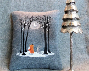 Snowy Winter Season Fox Rabbit Moon Forest Tree 8x10 Inch Scene January Gray Linen or Wool Embroidered Small Pillow