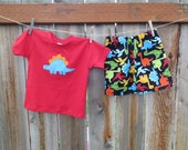 READY TO SHIP- 2T Dinosaur Outfit - T-Rex  - Boys Outfit - Shirt and Shorts -Stegosaurus Applique - Baby Boys Clothes - Boys Toddler Outfit