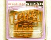 Peach Orange Square Spiral Clips - Scrapbooking Embellishment from Scrapworks - 12 pcs