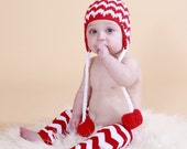 LAST PAIR Clearance Chevron Leg Warmers in Red & White Stripe