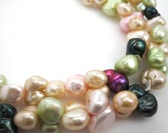 Freshwater Pearls Beads, Multi Color Pearls, Peanut Shape Pearls, 10mm x 15mm, Weddings, Brides Bridal, Loveofjewelry, SKU 3639