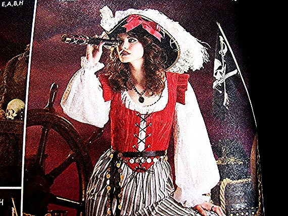 Women's Pirate Costume Pattern ADULT Misses size 6 8 10 12 UNCUT Halloween Costume Buccaneer Sewing Pattern