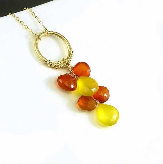 Gold Circle Gemstone Necklace Orange Yellow Chalcedony Necklace Fruit Punch Party Necklace