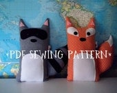 PDF Sewing Pattern Fox and Raccoon Stuffed Animals