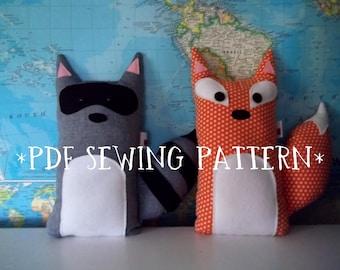 PDF Sewing Pattern Fox and Raccoon Stuffed Animals