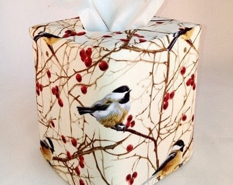 Birds and Red Berries Reversible Tissue Box Cover