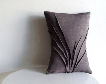 sculpted grass accent pillow - grey linen - textured pillow