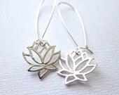 Lotus Earrings Sterling Silver Minimalist Modern Jewelry on Kidney Earwires