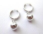 Silver Earrings, Ball Earrings, Modern hoop leverback earrings - secure closing, short dangle, modern jewelry by CuteJewels
