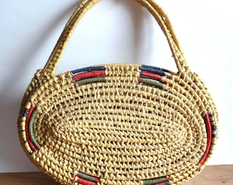 Vintage Natural Straw Shoulder Bag - Natural Raffia Bag - Red Blue Green Straw Vintage Purse- Mid Century Straw Shoulder Bag Summer