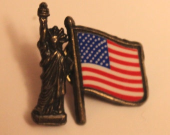 Vintage statue of liberty flag pin