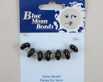 Blue Moon Beads Black Glass Rondelle Beads #FF124-25